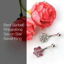 Rhinestones Flower Surgical Steel Barbell Piercing Belly Button Navel Ring