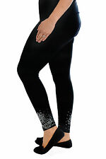 Womens Leggings Plus Size Ladies Foil Glitter Trouser Butterfly Elastic Nouvelle