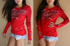 VOCAL PLUS SIZE CRYSTAL RED CROWN WINGS COTTON TOP TUNIC SHIRT BIKER 1X 2X 3X