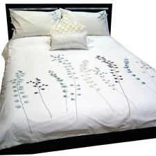 Quilt Cover or Doona Cover - Pure Cotton with Embroidery, Leaves on White