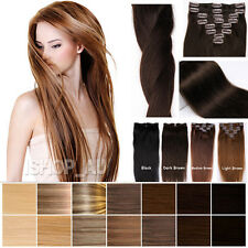 "Clip in Remy Real Human Hair Extensions 100% Clip ins 16""18""20""22"" Brand New iz"