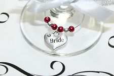 Wedding Wine Glass Charms -Top Table - Cranberry - Choice of Charms/Colours