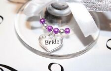 Wedding Wine Glass Charms -Top Table - Cadbury Purple - Choice of Charms/Colours