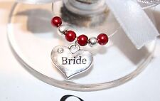 Wedding Wine Glass Charms -Top Table - Burgundy - Choice of Charms/Colours