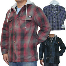 Dickies Jackets Mens Plaid Quilted Lined Fleece Hooded Overshirt 7055 Jacket