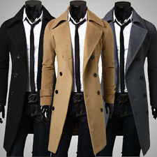 Mens Woolen Double Breasted Trench Long Jacket Slim Fit Outwear Coat Overcoat