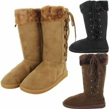 Womens Winter Warm Fur Faux Boots Sheepskin Suede Mid Calf Fashion Lace Shoes
