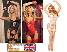Women Sexy Lace Lingerie Underwear Nightwear Babydoll Dress Garter + G-String M