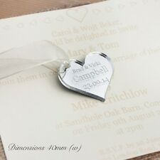 Personalised 4cm Mirrored Heart Wedding Favours, for Invitations or Decorations.