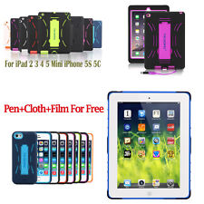 Hybrid Heavy Duty Survivor Shockproof Military Hard Case Cover For iPad iPhone