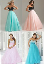 Full length evening gown Bridesmaid Wedding party prom formal dress Size 6-18