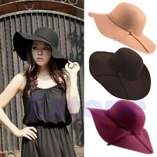 New Vintage Women 100% Wool Wide Brim Felt Bowler Fedora Hat Lady Floppy Cloche