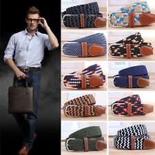 Men Casual Canvas Belt Elastic Rubber Concise Belt Metal Buckle Belt Clothing SK