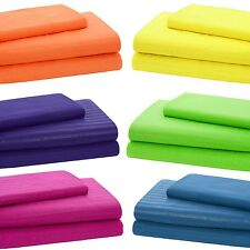 3-Piece Bright Color Embossed Sheet Set - Fitted Sheet and Pillowcase: Twin Size
