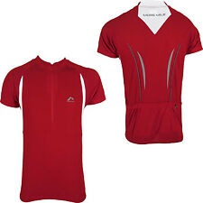More Mile Short Sleeve Mens Cycle Cycling Bike Jersey Top Red Pockets