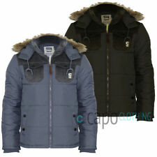 Mens Puffer Jacket Smith & Jones Maplwood Quilted Fur Hooded Puffa Parka Coat