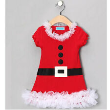 Christmas Santa Claus Baby Kids Girls Flower Lace Belt Flounced Skirt Dress RED