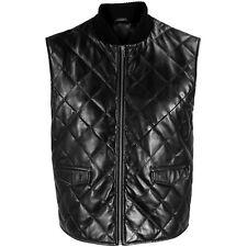 VIPARO Womens Black Leather Quilted Quilt Lambskin Wyatt Vest Gilet