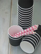 BLACK ice-cream mini tubs cups x 15/30  craft ♥ party wedding halloween sweets