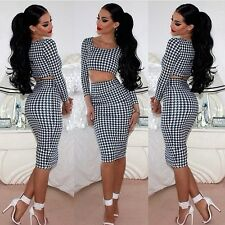 Houndtooth print two piece bodycon party dress celeb crop top skirt set casual