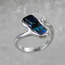 Jewellery-Michel Ladies Ring Silver 925 Boulder opal-green und blue Size 60 (R6)