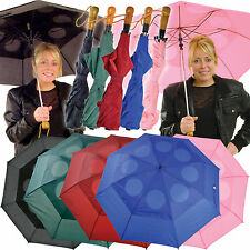 Windproof Umbrella Push Button Automatic Double Canopy Pink Black Ladies Mens