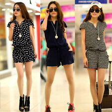 Fashion Women Lady Casual Short Sleeve Pants Jumpsuit Romper Shorts M L XL XXL