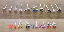 925 Sterling Silver - 1 x Plain Silver & Metallic Coated Nose Studs - 19 Types