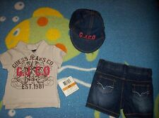 Guess Outfit 3pc Short Set Boys Shirt Shorts Cap Infant Baby 0-3 3-6 6-9 Mos NWT