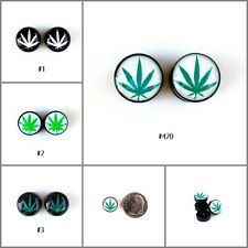 Fake Ear Plugs Cheater Gauges 10mm Face Green Marijuana Chronic Leaf Weed