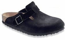 Birkenstock Women's Boston Soft Footbed Slip On Clog Shoes Black Suede 66047