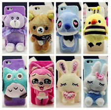 3D Cartoon Plush Doll Toy Stitch Bear Owl Melody Case Cover For iPhone 4 5 5S 6