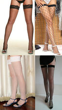 Women Big Diamond Fence Net Thigh High Hi Silicone Lace Nylons Stockings Hosiery