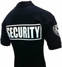 SECURITY POLO SHIRT DELUXE NEW 100% COTTON NAVY OR BLACK WITH WHITE LETTERS