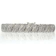 1.00ct TDW Diamond Wave Link Tennis Bracelet