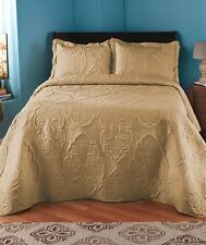 OVERSIZED SOLID STITCHED SAND TAN QUILT COMFORTER BEDDING FULL QUEEN KING SIZE