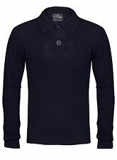 New Mens Navy Button Up Collared Neck Knitwear Jumper Size S-XXL