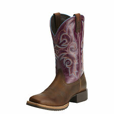 New Women's 10014163 Ariat Hybrid Rancher Brown Square Toe Leather Western Boot