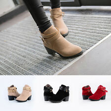 New Ladies Boots Nubuck High-Heel Belt Buckle Martin Boots Ankle Boots