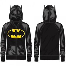 Womens Official DC Comics Batman Half Mask Costume Hoodie Black NEW Halloween