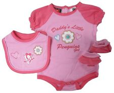 Pittsburgh Penguins Reebok BABY GIRLS 3 Piece Pink Creeper, Bib & Booties Set