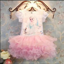 Disney Princess Baby Kids Girls Frozen Elsa Top Party Tutu Cake Dresses Xmas