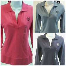 New Tommy Hilfiger womens 3/4 sleeve knit vneck top crest on chest