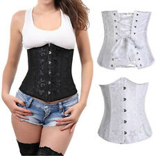 New High-Class lace up waist training steel boned pure underbust corset dress DG