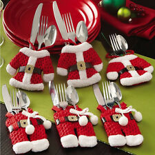 Christmas Decorations Happy Santa Silverware Holders Pockets Dinner Decor