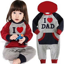 I Love Mam Dad Baby Kids Girls Boys Thicken Jumpsuit Outfits Set Hoodie Costume