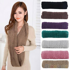Women Simple Warm Infinity Wrap 2 Circle Shawl Cable Knit Cowl Neck Long Scarf