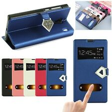New Luxury Diamond Double Window Grid Flip Leather Phone Case Stand Cover
