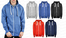 Mens NEW Plain Colour Hoodie Zipper Hooded Boys Cosy Sweatshirt Jacket Top S-XXL