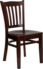 Hercules Mahogany Finished Vertical Slat Back Wooden Restaurant Dining Chair